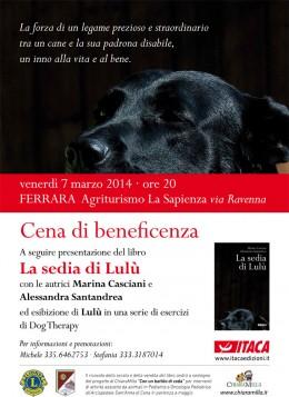 """Cena e presentazione del libro """"La sedia di Lulù"""" a Ferrara - 7/3/2014"""