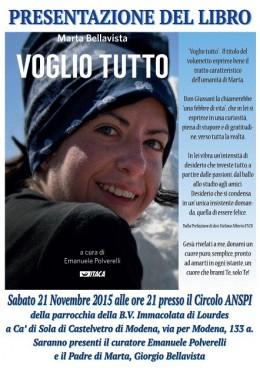 """""""Voglio tutto"""" di Marta Bellavista - presentazione a Ca' di Sola di Castelvetro (MO) - 21.11.2015"""