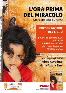 L'ora prima del miracolo - presentazione a Mendrisio 28.1.2016