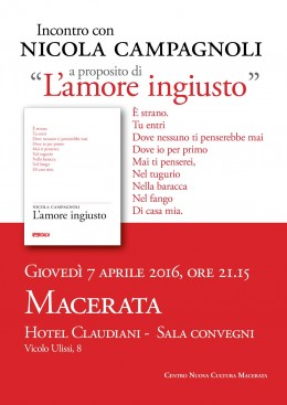 """""""L'amore ingiusto"""" di Nicola Campagnoli - Presentazione a Macerata 7.4.2016"""