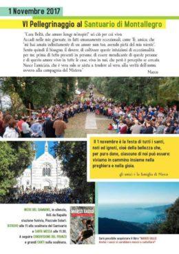 6° pellegrinaggio in memoria di Marco Gallo al Santuario di Montallegro (Rapallo) - 1.11.2017