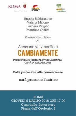 """""""Cambiamente"""" di Alessandra Lancellotti - Presentazione a Roma - 5 luglio 2018"""