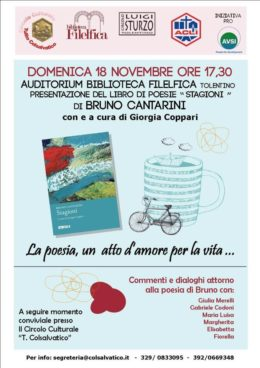 """""""Stagioni"""" - Presentazione del libro di Bruno Cantarini - Tolentino 18 novembre 2018"""