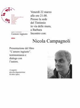 """""""L'amore ingiusto"""" di Nicola Campagnoli - Presentazione a Barbara - 22 marzo 2019"""