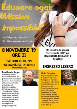 Educare oggi. Mission impossible? - Incontro con Silvio Cattarina - Varese 8-11-2019