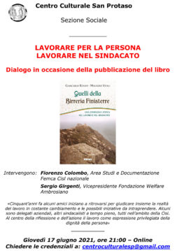 """""""Quelli della Birreria Finisterre"""" - Presentazione 17 giugno 2021"""